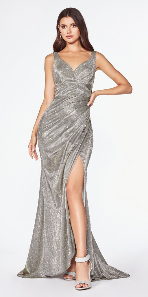 Cinderella Divine CF332 Fitted Glitter Sparkle Ruched Gown Antique Gold With Leg Slit And V-Neckline
