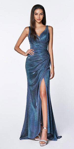 Cinderella Divine CF332 Fitted Glitter Sparkle Ruched Gown Blue With Leg Slit And V-Neckline