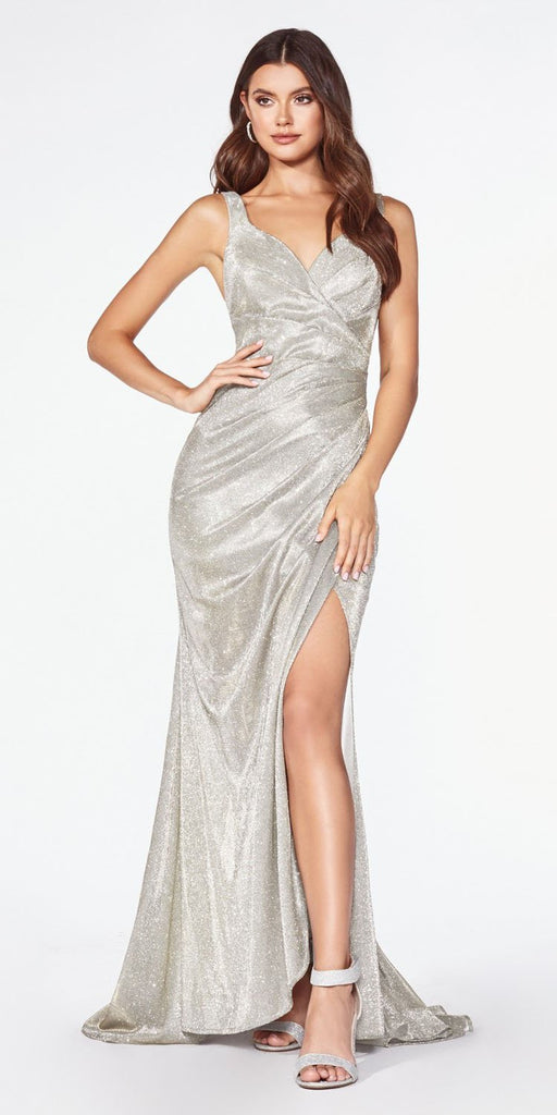 Cinderella Divine CF332 Fitted Glitter Sparkle Ruched Gown Champagne With Leg Slit And V-Neckline