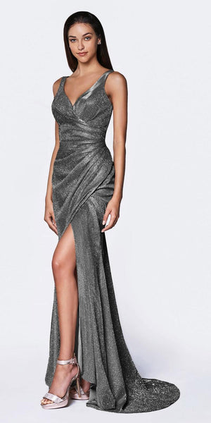 Cinderella Divine CF332 Fitted Glitter Sparkle Ruched Gown Charcoal With Leg Slit And V-Neckline