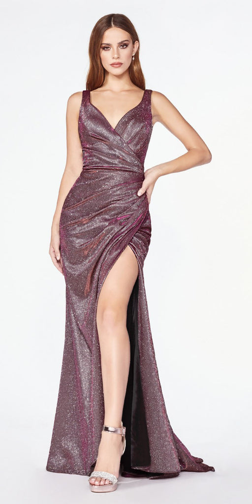 Cinderella Divine CF332 Fitted Glitter Sparkle Ruched Gown Eggplant Burgundy With Leg Slit And V-Neckline