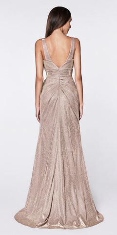 Cinderella Divine CF332 Fitted Glitter Sparkle Ruched Gown Mauve With Leg Slit And V-Neckline