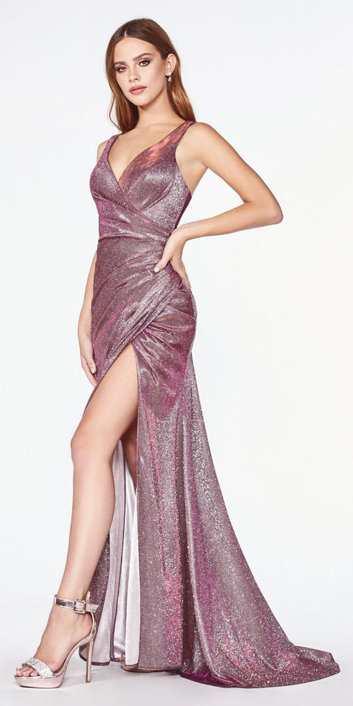Cinderella Divine CF332 Fitted Glitter Sparkle Ruched Gown Purple Burgundy With Leg Slit And V-Neckline