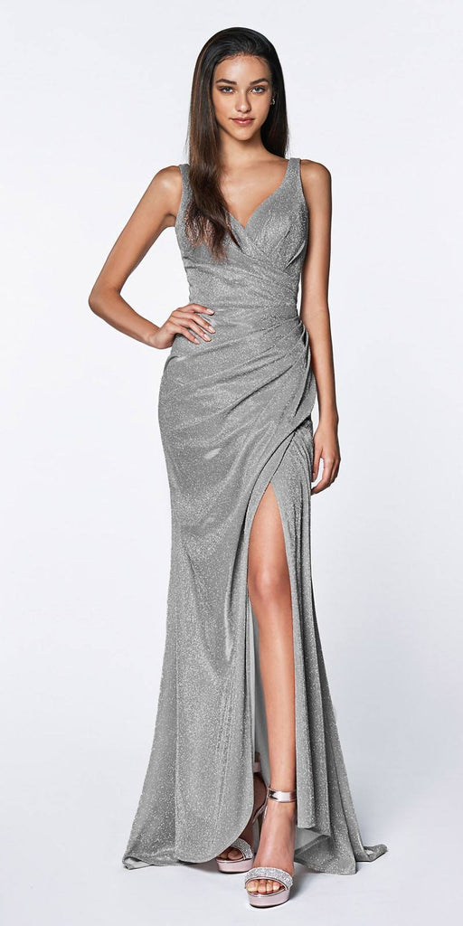Cinderella Divine CF332 Fitted Glitter Sparkle Ruched Gown Silver With Leg Slit And V-Neckline