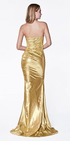 Cinderella Divine CF335 Long Strapless Fitted Gown Champagne Sweetheart Neckline Leg Slit
