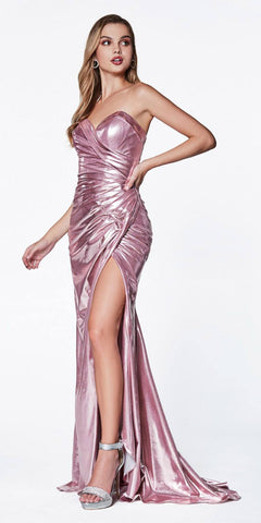 Cinderella Divine CF335 Long Strapless Fitted Gown Rose Sweetheart Neckline Leg Slit