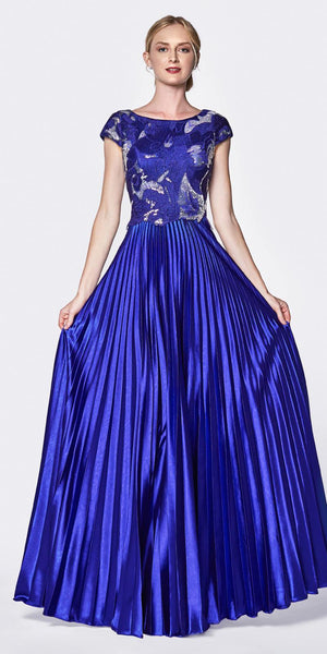 Cinderella Divine CF337 A-Line Pleated Gown Royal Blue Cap Sleeve Laser Cut Lace Bodice