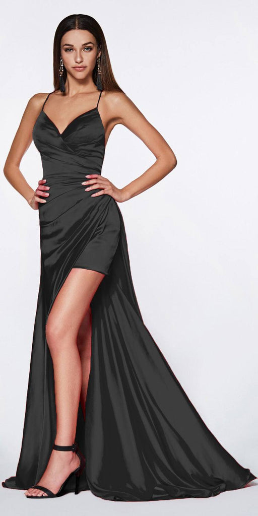 Cinderella Divine CF343 Fitted Gathered Gown Black Full Length Side Slit And Mini Skirt