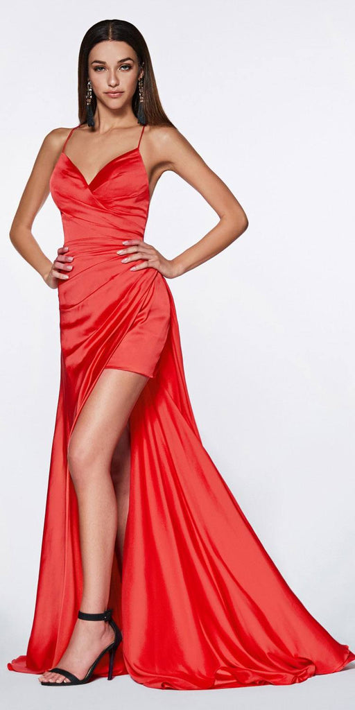 Cinderella Divine CF343 Fitted Gathered Gown Red Full Length Side Slit And Mini Skirt