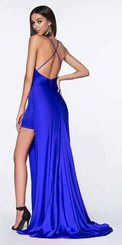 Cinderella Divine CF343 Fitted Gathered Gown Royal Blue Full Length Side Slit And Mini Skirt