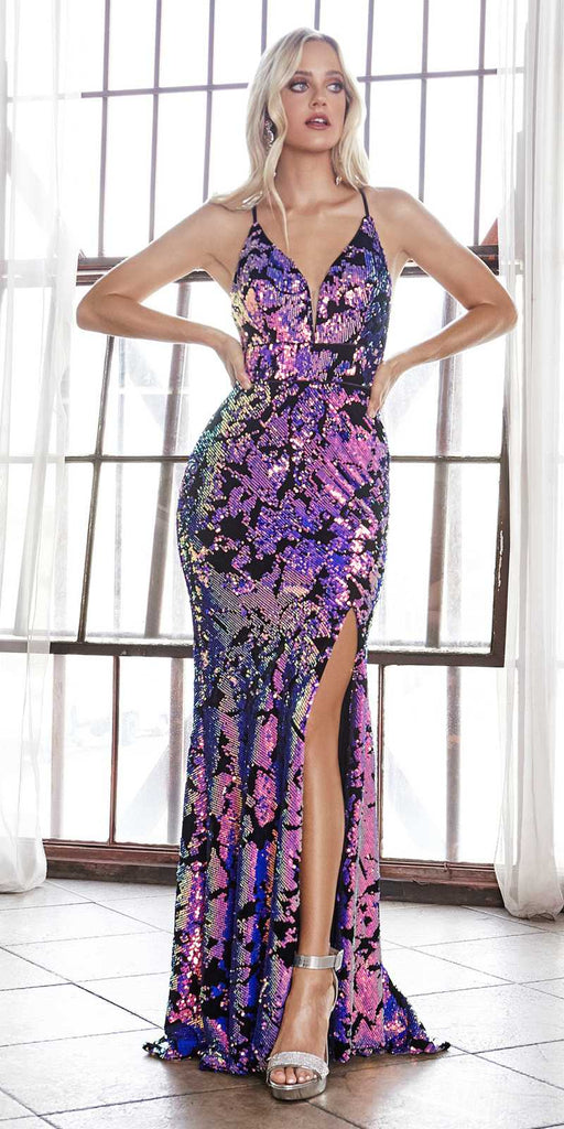 Cinderella Divine CF345 Long Slim Fit Sequin Gown With Iridescent Finish And Lace Up Back