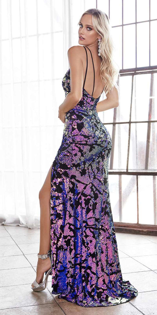 Cinderella Divine CF346 Long Slim Fitted Gown Ultra Violet Iridescent Sequins Deep Plunge Neckline