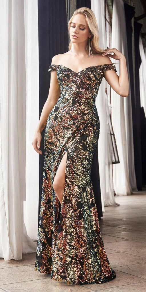 Cinderella Divine CF348 Full Length Off The Shoulder Sheath Dress Gold/Black Iridescent Sequins Leg Slit
