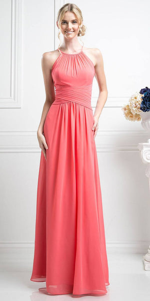 Cinderella Divine CH1501 Halter Overlay Bridesmaid Dress Chiffon Long Coral