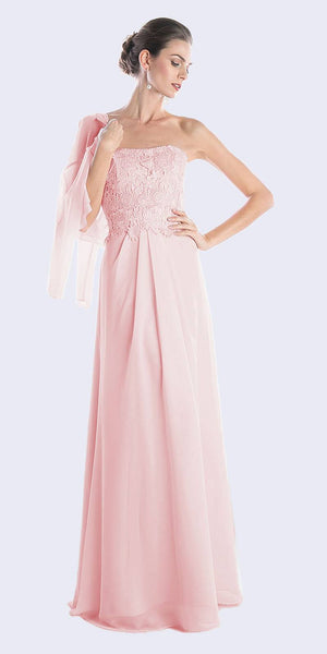 Cinderella Divine CH1507 Formal Long Blush Dress Chiffon Lace Top With Jacket
