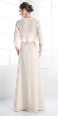 Cinderella Divine CH1507 Formal Long Champagne Dress Chiffon Lace Top With Jacket