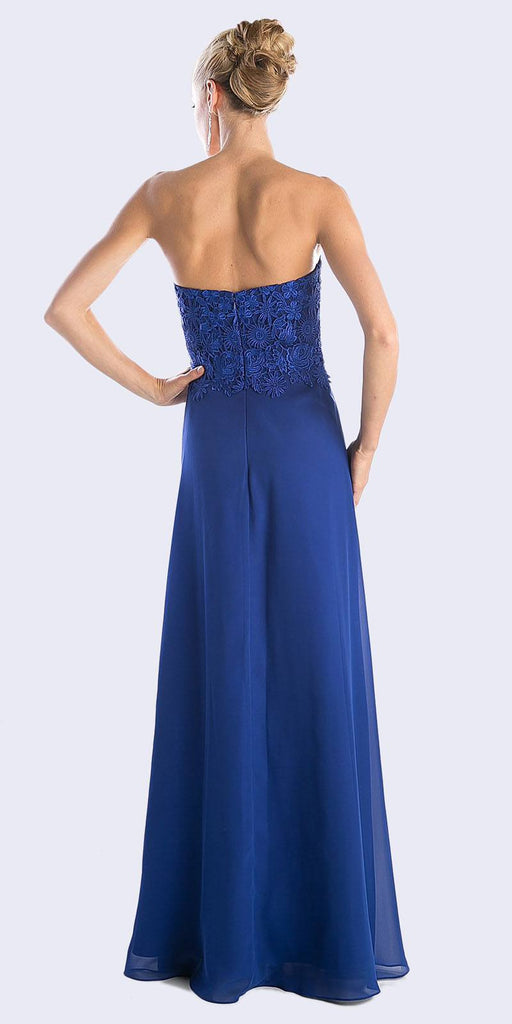 Cinderella Divine CH1507 Formal Long Royal Blue Dress Chiffon Lace Top With Jacket
