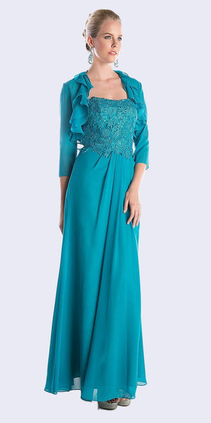 Cinderella Divine CH1507 Formal Long Teal Dress Chiffon Lace Top With Jacket