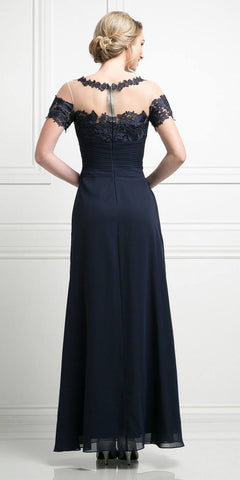 Navy Blue Appliqued Long Formal Dress with Drapes