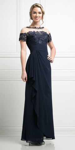 Navy Blue Full Length Chiffon Dress with Mid Sleeves