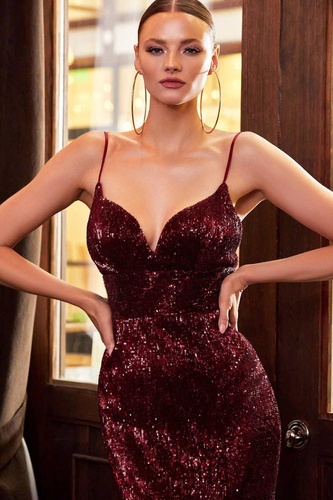 Cinderella Divine CH180 Long Fitted Iridescent Burgundy Sequin Column Gown Leg Slit