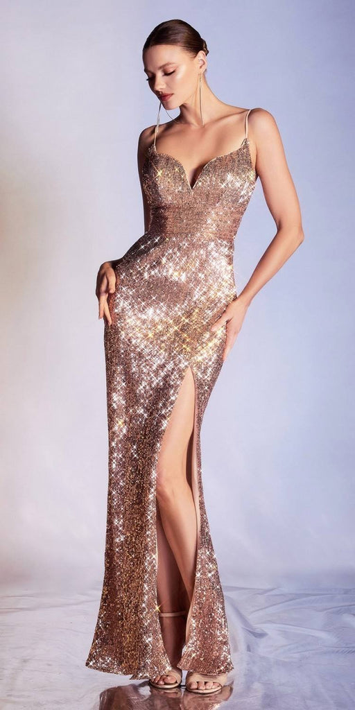 Cinderella Divine CH180 Long Fitted Iridescent Rose Gold Sequin Column Gown Leg Slit