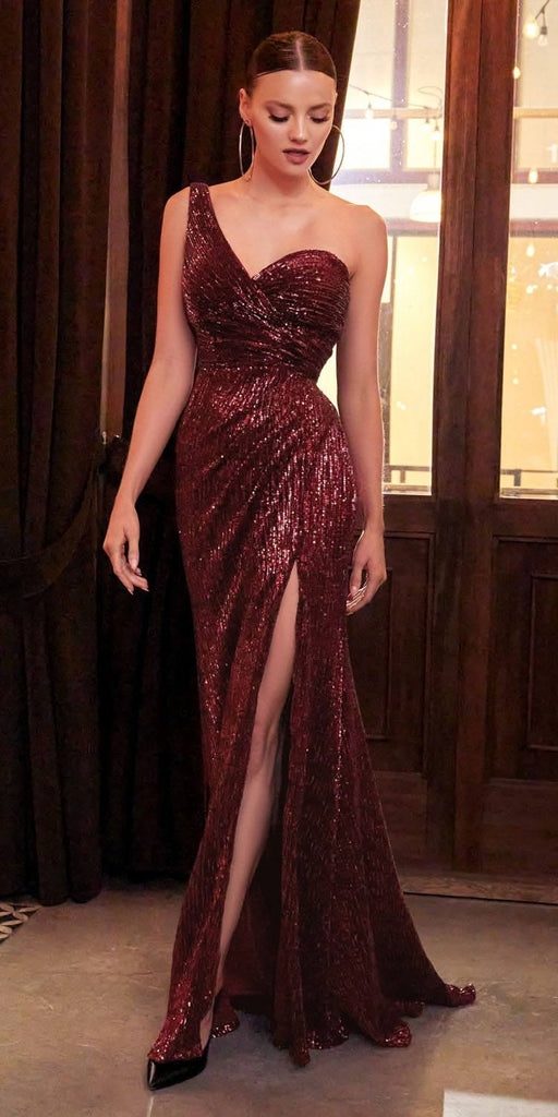 Cinderella Divine CH182 Floor Length One Shoulder Sequins Column Gown Burgundy Side Slit