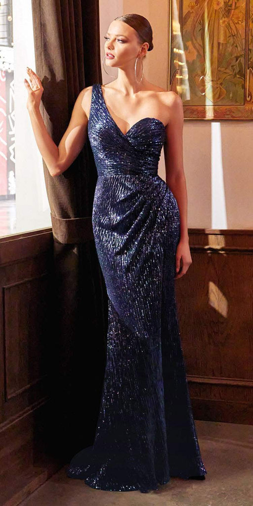 Cinderella Divine CH182 Floor Length One Shoulder Sequins Column Gown Navy Blue Side Slit