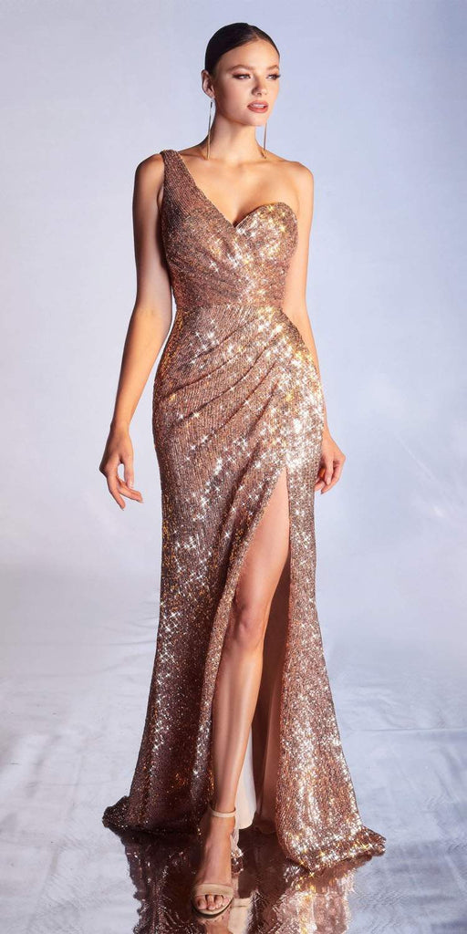 Cinderella Divine CH182 Floor Length One Shoulder Sequins Column Gown Rose Gold  Side Slit