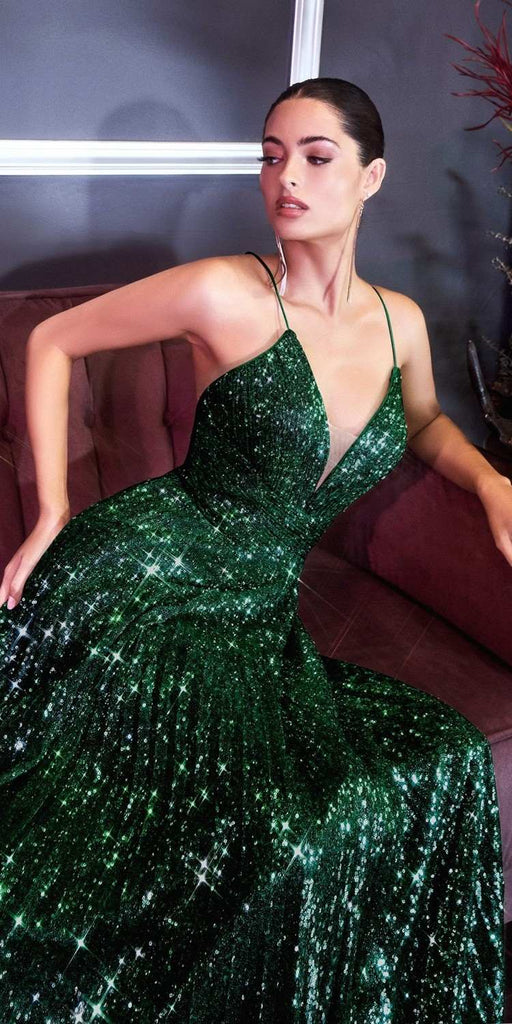Cinderella Divine CH189 Long Pleated Iridescent Sequins Gown Emerald Green A-Line Sparkle