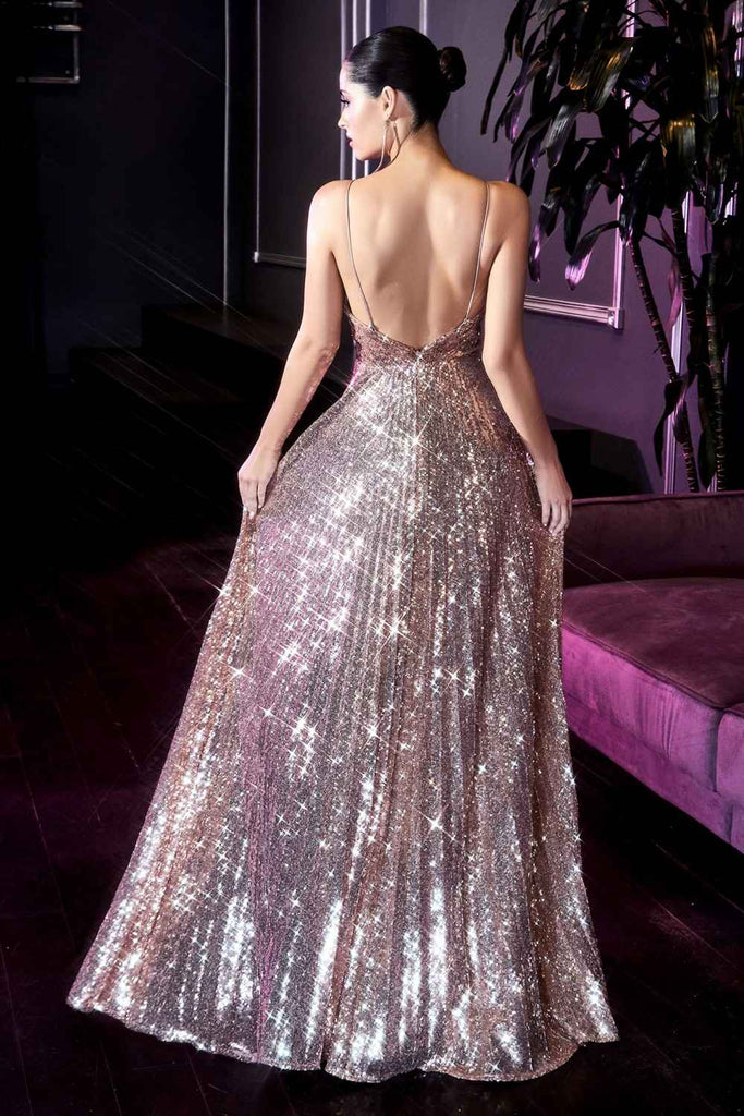 Cinderella Divine CH189 Long Pleated Iridescent Sequins Gown Rose Gold A-Line Sparkle