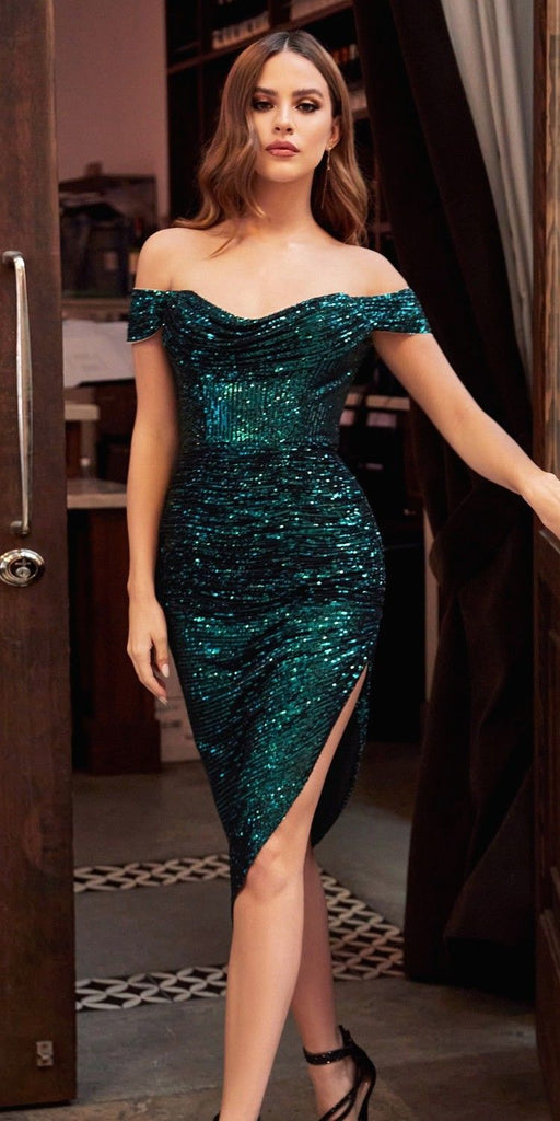 Cinderella Divine CH190 Sexy Sequin Emerald Green Midi Cocktail Dress Off The Shoulder