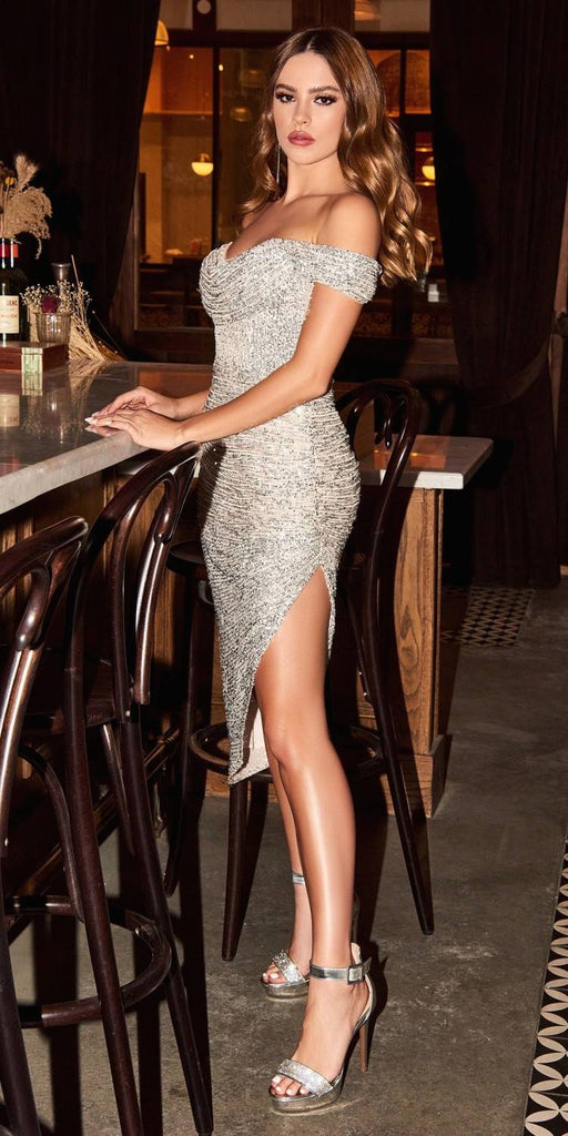 Cinderella Divine CH190 Sexy Sequin Platinum Midi Cocktail Dress Off The Shoulder