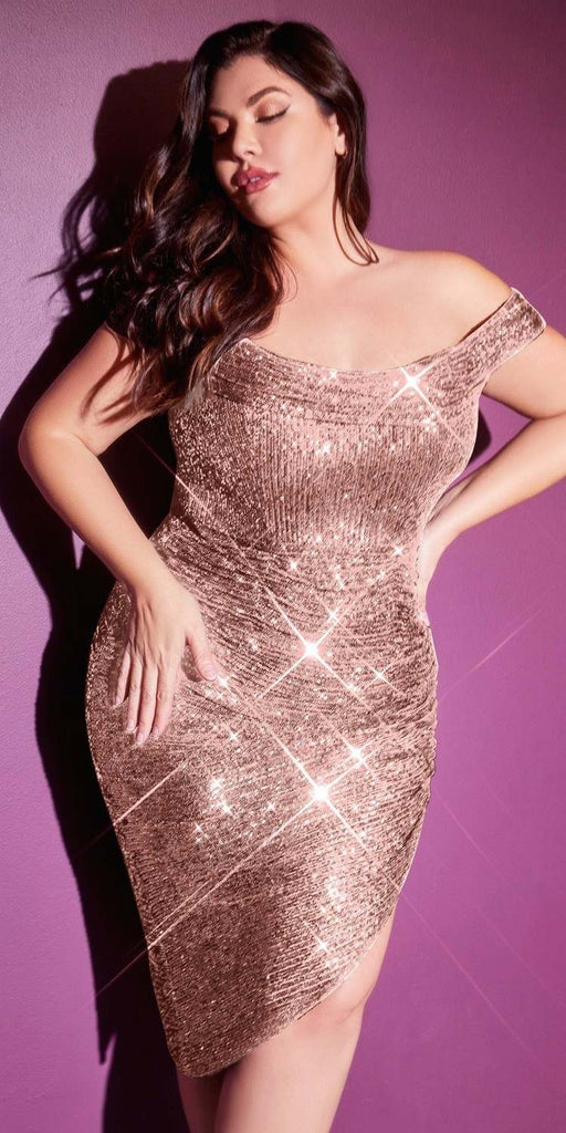 Cinderella Divine CH190 Sexy Sequin Rose Gold Midi Cocktail Dress Off The Shoulder Plus Size