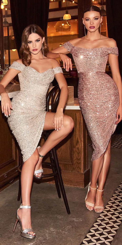 Cinderella Divine CH190 Sexy Sequin Rose Gold Midi Cocktail Dress Off The Shoulder