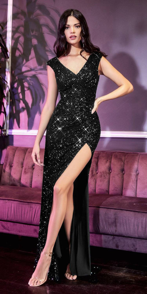 Cinderella Divine CH198 Fitted Sequin Black Evening Gown Gathered Waist V-Neckline Cap Sleeves Slit