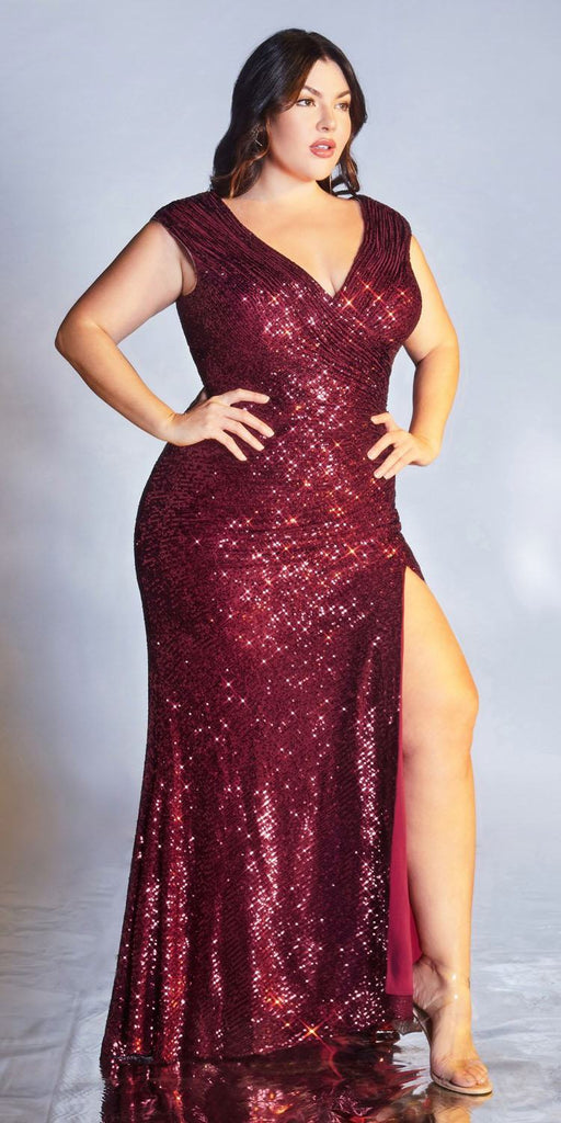 Cinderella Divine CH198 Fitted Sequin Burgundy Evening Gown Gathered Waist V-Neckline Cap Sleeves Slit