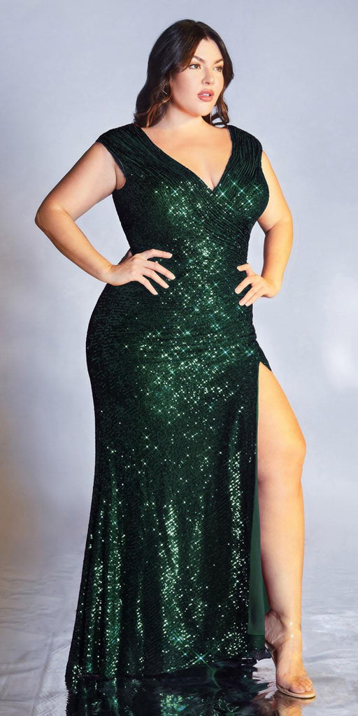 Cinderella Divine CH198 Plus Size Fitted Sequin Emerald Evening Gown Gathered Waist V-Neckline Cap Sleeves Slit