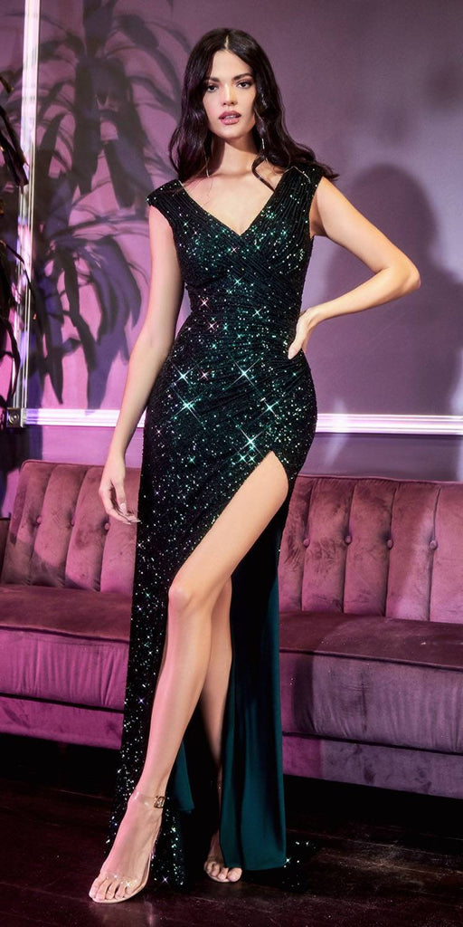 Cinderella Divine CH198 Fitted Sequin Emerald Evening Gown Gathered Waist V-Neckline Cap Sleeves Slit