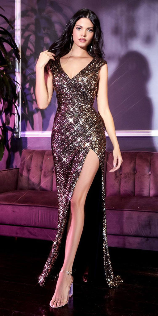 Cinderella Divine CH198 Fitted Sequin Gold/Black Evening Gown Gathered Waist V-Neckline Cap Sleeves Slit