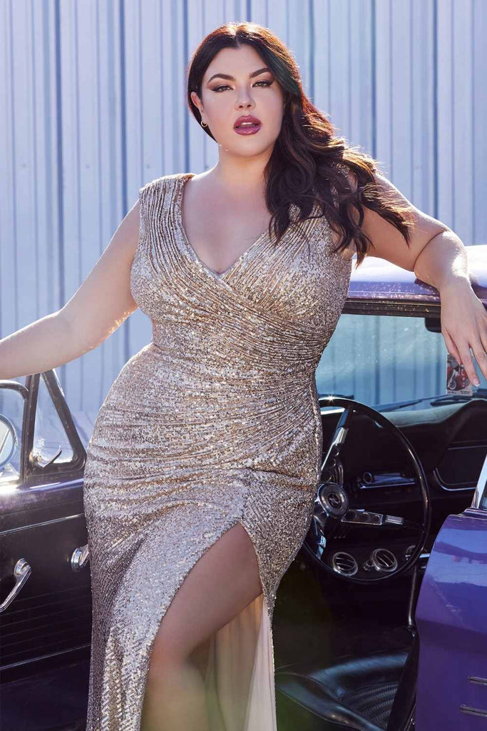Cinderella Divine CH198 Plus Size Fitted Sequin Gold Evening Gown Gathered Waist V-Neckline Cap Sleeves Slit