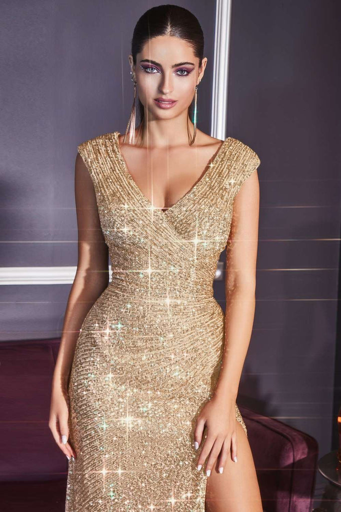 Cinderella Divine CH198 Fitted Sequin Gold Evening Gown Gathered Waist V-Neckline Cap Sleeves Slit
