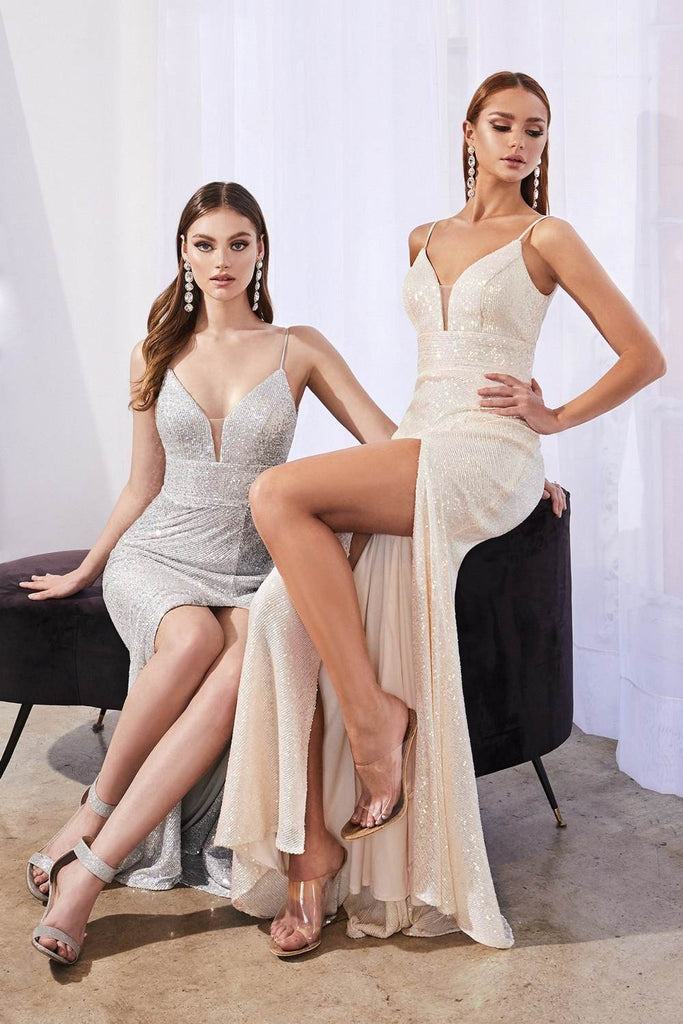 Cinderella Divine CH199 Long Fitted Iridescent Sequin Dress Opal Champagne Leg Slit Spaghetti Straps