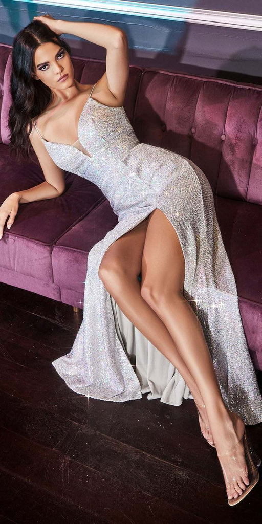 Cinderella Divine CH199 Long Fitted Iridescent Sequin Dress Opal Silver Leg Slit Spaghetti Straps