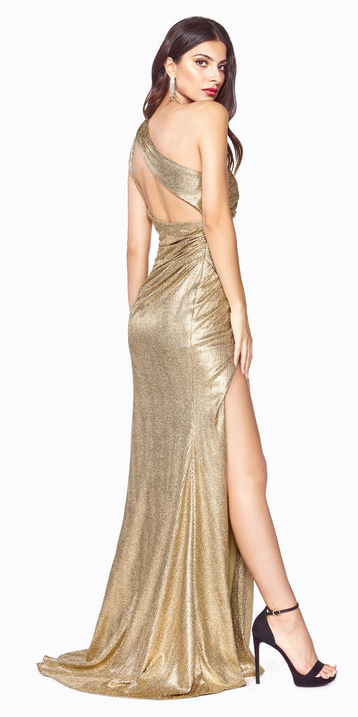 Cinderella Divine CH202 Long One Shoulder Fitted Gown Gold Gathered Side Leg Slit