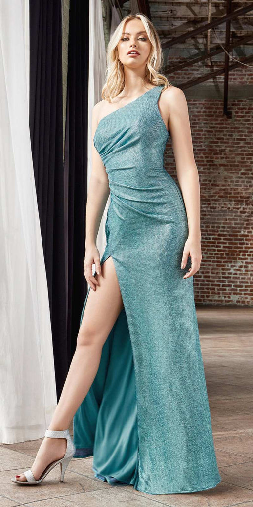 Cinderella Divine CH202 Long One Shoulder Fitted Gown Jade Gathered Side Leg Slit