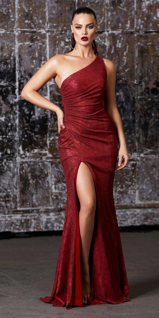 Cinderella Divine CH202 Long One Shoulder Fitted Gown Red Gathered Side Leg Slit