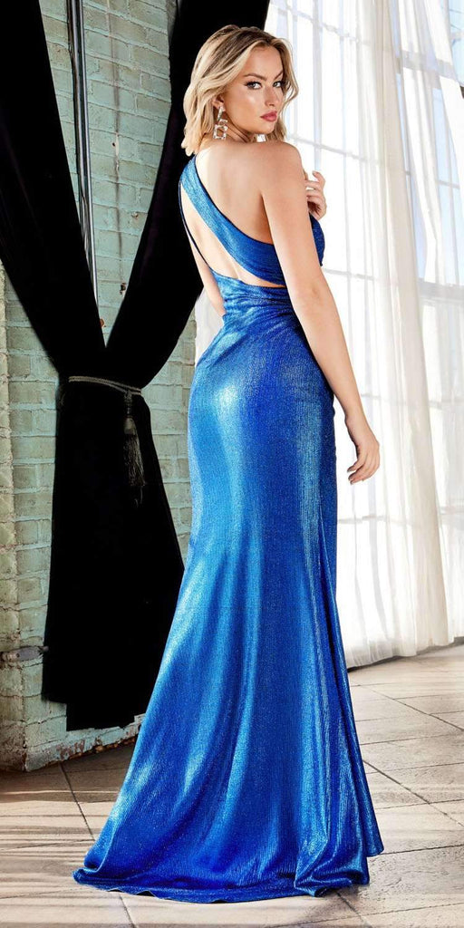 Cinderella Divine CH202 Long One Shoulder Fitted Gown Royal Blue Gathered Side Leg Slit