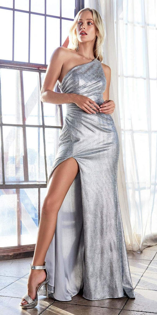 Cinderella Divine CH202 Long One Shoulder Fitted Gown Silver Gathered Side Leg Slit