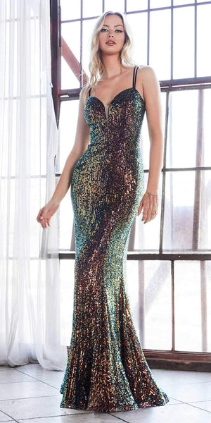 Cinderella Divine CH209 Long Fitted Sequin Gown Opal-Black Deep Sweetheart Neckline Criss Cross Back